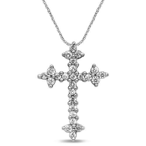 Diamond Jewel 10K White Gold Diamond (.25 cttw) Cross Pendant/Necklace by Diamond Jewel