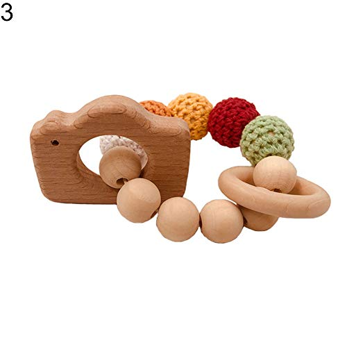 yanbirdfx Wooden Beads Baby Bracelet Wheal Heart Star Camera Shape Teething Teether Toy Camera