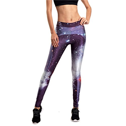 Autumn Melody Stylish Women Sports Fitness Trousers Colorful Purple Aurora High Waist Running Yoga Pants Size M US (Tuner Bagpipe)