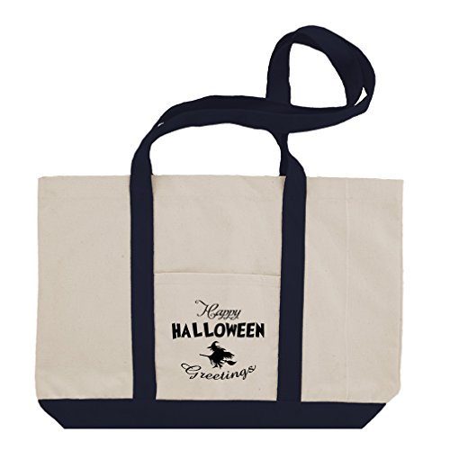 Happy Halloween Greeting Cotton Canvas Boat Tote Bag Tote - (Happy Halloween Greetings)