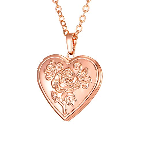 Roses Locket Necklace - U7 Photo Locket Pendant Heart Shaped Rose Gold Plated Necklace 22