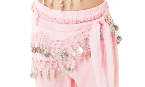 Belly Dance Turkish Costumes (Child Kid's Girl's Belly Dance Hip Scarf Belt- Chiffon Pink)