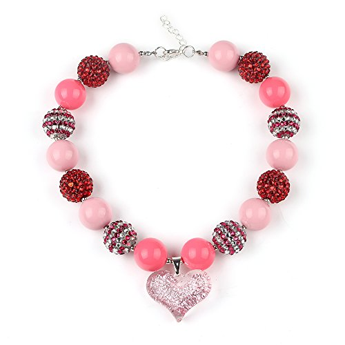 Glitter Heart Pendant Chunky Necklace Valentines Day Jewelry Red & pink Color with Goft Box Vcmart