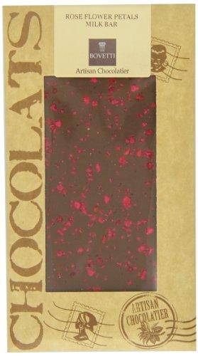 Bovetti Crystallized Rose Petal Pieces Milk Chocolate Bar, 100g