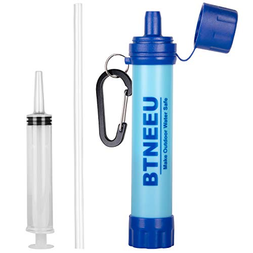 🥇 BTNEEU Filtro de Agua Portatil 1500L Filtro Agua Personal 0.01 Micron