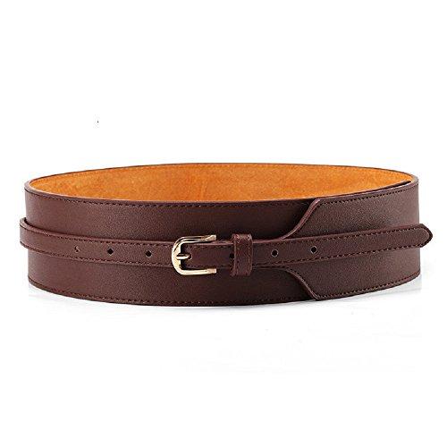 Womens Obi Belt Vintage PU + Genuine Leather Buckle Waist Belt Fashion Wide Belts (37.4'', brown) by ICSTH