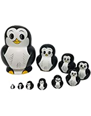 RAILONCH Pinguïn matroesjka vorm Russische pop geschenk cartoon houten speelgoed handwerk geschenk dier poppen