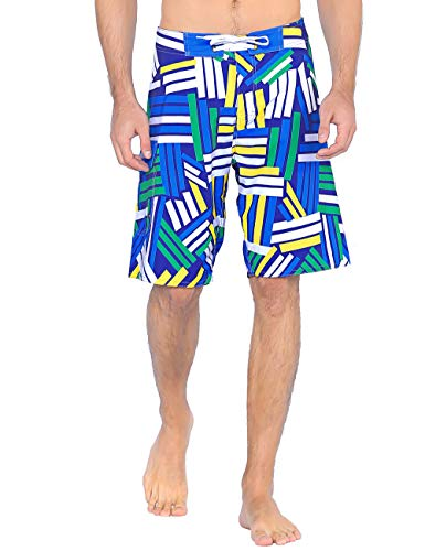 Hawaiian Lined Trunks Swim (Unitop Men's Board Shorts Quick Dry Hawaiian Colorful Printed Athletic Trunks with Lining Blue-257 40)