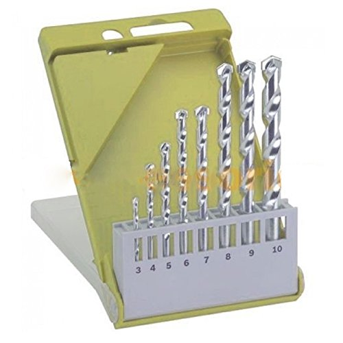 "8 Pcs Masonry Drill Bit Set 1/8"" To 3/8"" M2 Carbide Tip Concrete Brick Tile Case Easy To Use Carbide Surface Brand New"