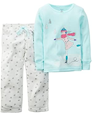 Little Girls 2 Piece Cotton Fleece PJs -Ice Skate (3t, Teal)