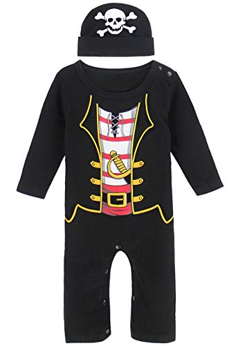 (COSLAND Infant Baby Boys' Halloween Costume Pirate Romper with Hat(Pirate, 3-6 Months))