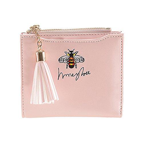 Women Short PU Leather Wallet(Pink) - 4