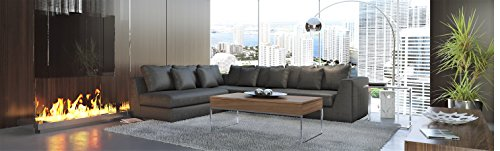 "UrbanMod Modern Reversible Sectional Sofa Gray 120""- 170"" - With its modern form, extra plush back cushions and crisp tailoring, the spacious elegant Sofa elevates your home. Polished stainless-steel lines a solid wood frame while a soft gray fabric and four throw pillows make it perfectly cushy and ready to lounge. A flexible L-shaped design is manually customizable to fit any space by converting to left side or right side or in between to extend as a sectional. - sofas-couches, living-room-furniture, living-room - 41euwL67MDL -"