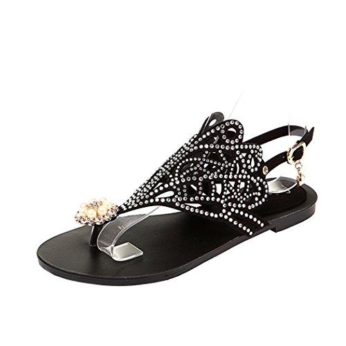 Flat Rhinestone Toe Sandals Flops Black Sandals Post Beach Summer Flip Clip Women's wqIxZtFZ