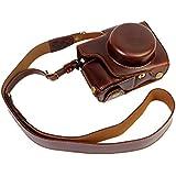 Plein de fond de protection d'ouverture Version protection en cuir PU Camera Bag Case avec trépied Conception Compatible Pour Olympus OM-D E-M10 Mark 2 EM10 Mark II avec 14-42mm F3.5-5.6 EZ lentille avec l'épaule de cou Ceinture marron foncé