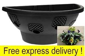 10 x Plantopia llenado fácil montaje en pared cestas colgantes/plantadores, negro 50,8 cm, entrega gratuita
