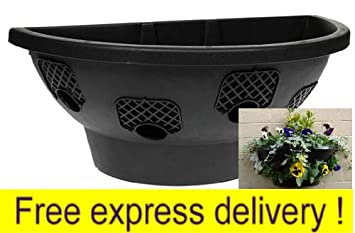 4 X Plantopia Easy Fill Wall Mount Hanging Baskets / Planters, Black  20u0026quot;,