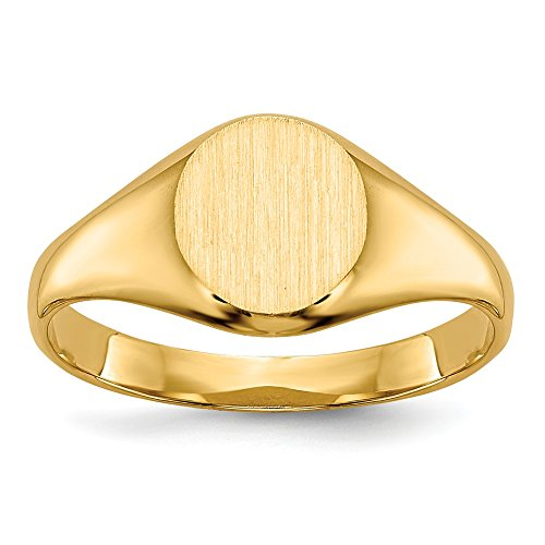 14k Yellow Gold Childs Signet Band Ring Size 5.00 Baby Fine Jewelry Gifts For Women For Her - Black Square Crystal Ice