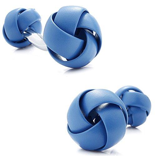 HAWSON Personalize Blue Knot Cufflinks for Man Shirt Wedding Business Jewelry (Blue) - Blue Knot Cufflinks