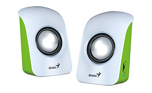 Genius SP-U115 Stereo USB Powered 2.0 Speakers White with 1.5W Output and 3.5mm Audio Plug, White SP-U115