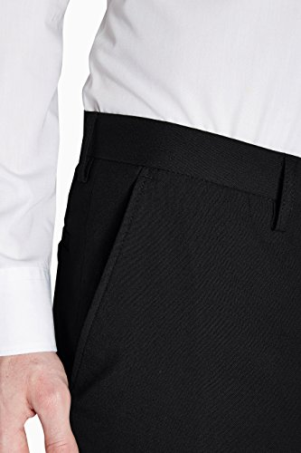 next Homme Pantalon sans pinces Noir Élastique 34 / Regular - Slim Fit