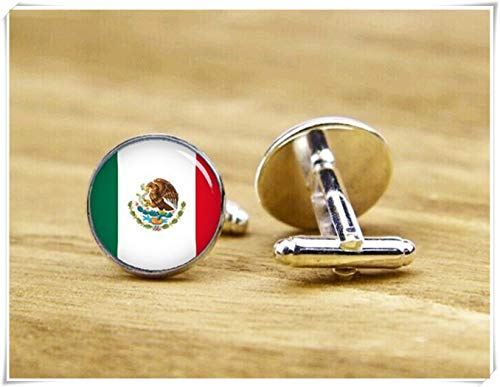 Beautiful Dandelion Flag of Mexico Cufflinks, Mexican Flag Cufflinks, Patriot Cufflinks