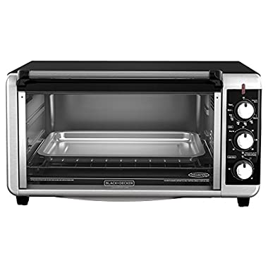 BLACK+DECKER TO3250XSB 8-Slice Extra Wide Toaster Oven, Black/Silver