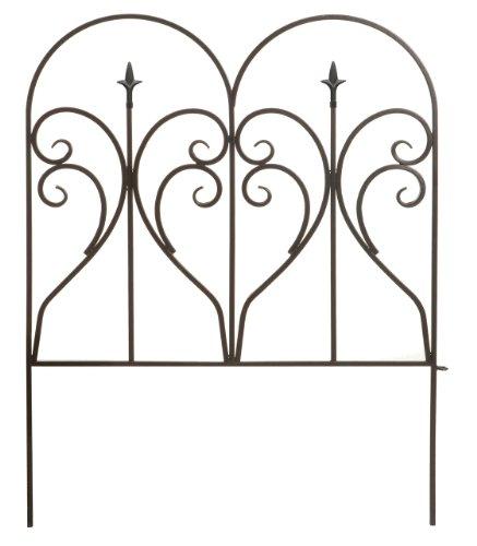 Panacea 87405 Scroll and Finial Border Fence, Black Ornamental Metal Fencing