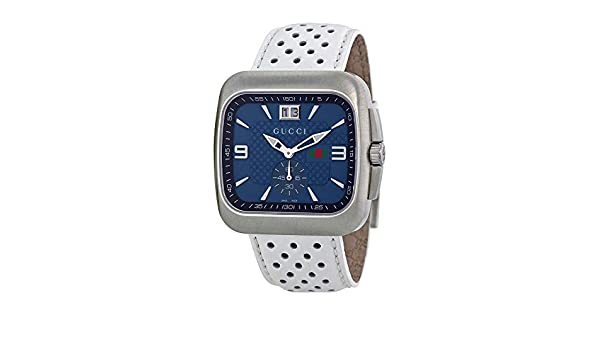 25f08dbb7b2 Gucci G Coupe Quartz Blue Dial Leather Strap Mens Watch YA131304  Watch   Gucci  Gucci  Amazon.ca  Watches