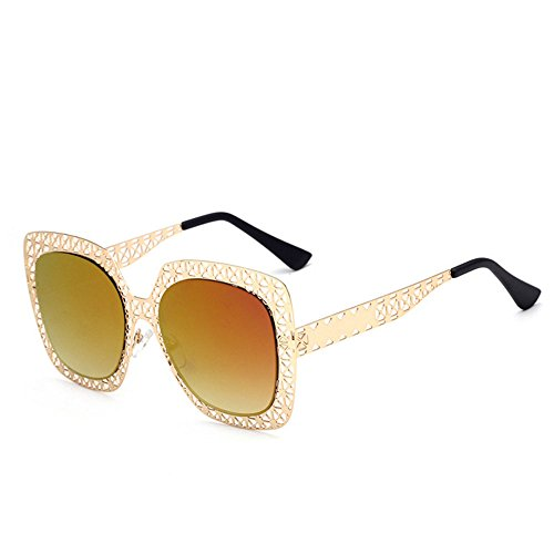 Plage soleil de Air Sports Creux Mesdames Lunettes Miroir Métal Orange Personnalité Lunettes de Soleil de Creux Plein léger Ultra Bqw564g