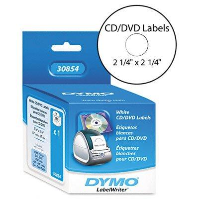 o DYMO o - Self-Stick CD/DVD Label for Label Printers, 2-1/4in dia, White, 160/Box