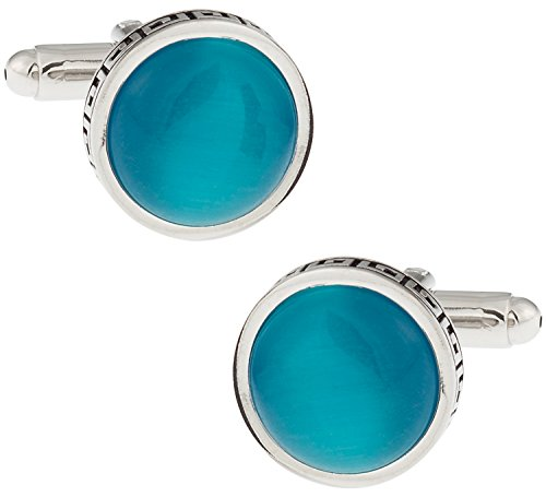 amarine Blue Catseye-style Cufflinks with Presentation Box ()