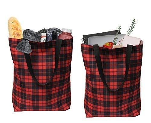(Earthwise Plaid Everyday Shopping Bag Tote Large for Grocery, Gift Tote for Xmas Christmas 17