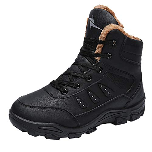 Winter Lace-Up Fleeces Keep Warm Shoe Wear Resistant Non-Slip Thick Bottom Shoes (Black, US:7.5) ()