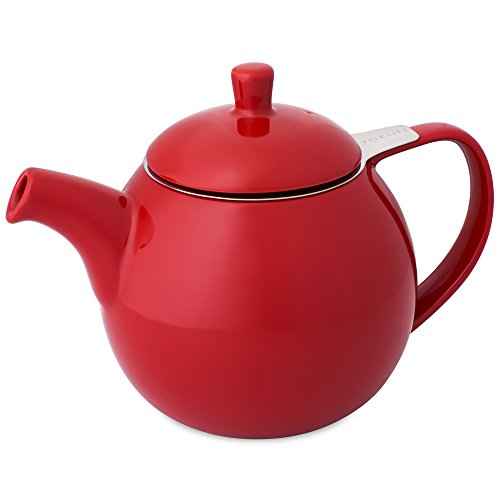 FORLIFE Curve Teapot with Infuser, 24-Ounce, Red