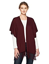 NYDJ Women's Sweater Wrap with Fringe, Deep Currant, S/M