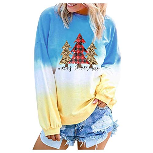 Women's Long Sleeve Christmas Tree Print Color Block Tie Dyeing Blouses Pullover Tops T-Shirts Blue (Tree Down Christmas Burnt)