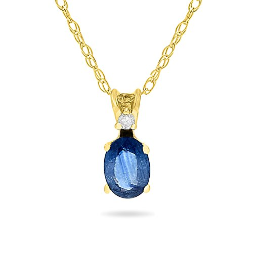 14k Yellow Gold Genuine Oval Blue Sapphire and Diamond Pendant Necklace, Birthstone of September, 18 Inch Chain ()