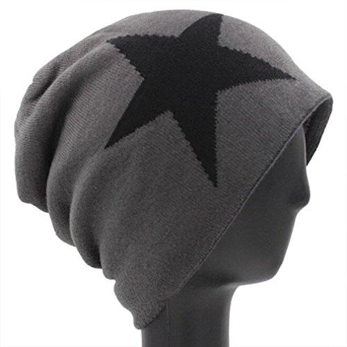 Cálidamente Xianshu Beanie Gorra Sombrero Unisex Pop Hat Flexible Forrado Gris Eestrella Esquí Caliente Hip fT5Tp