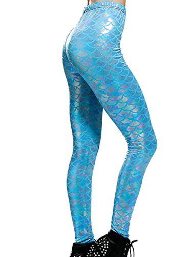 Alaroo Halloween Shiny Fish Scale Mermaid Leggings for Women Pants S
