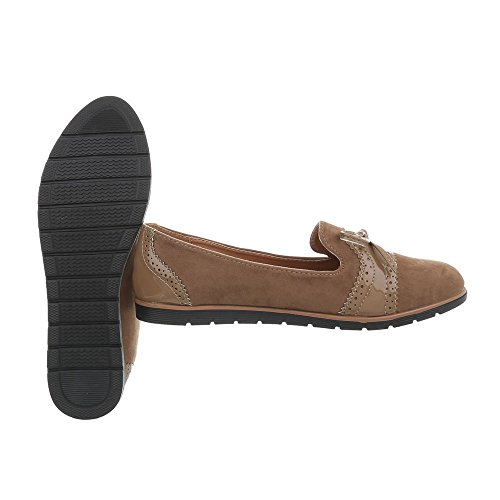Ital-Design Women's Loafer Flats Flat Slippers at Brown WHH7063 mIa1Xup