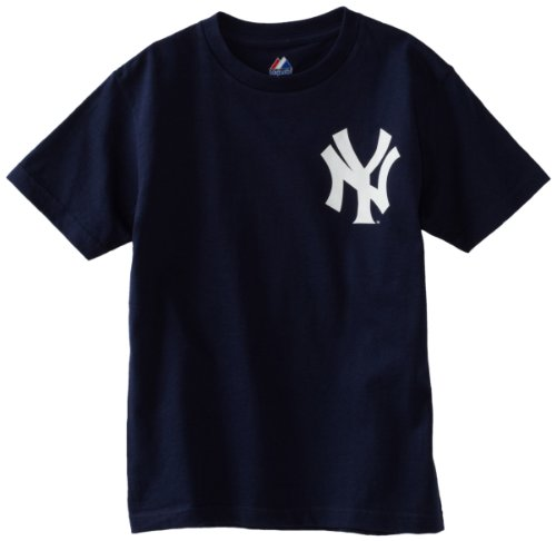MLB Boys' New York Yankees Official Wordmark Short Sleeve Basic Tee by Majestic (Athletic Navy, Medium) ()
