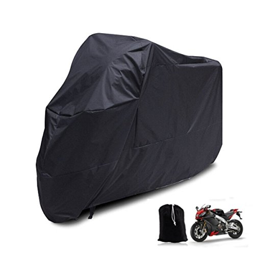 Motorcycle Rain Cover All Season Waterproof Outdoor Bicycle Motorbike Protective Cover, XL 96x41x49 Inch + [Carry Bag], All Black