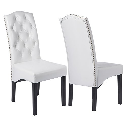 Merax Dining Chairs PU Chair with Solid Wood Legs, Set of 2 (White-(PU Leahter))