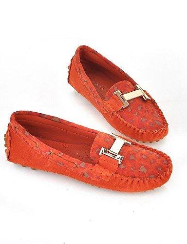 Almond Rojo Uk6 5 Almendra Zq Eu39 5 Gyht us5 Punta Tacón De Eu36 Mocasines 5 Cn35 Uk3 Cuero us8 Casual Zapatos 5 Redonda Exterior Cn40 Mujer Naranja Plano Orange 7B6n7rx