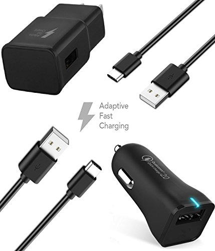 Samsung Galaxy Note 8 Adaptive Fast Charger Type-C (USB-C) USB 2.0 Cable Kit by TruWire - {Car Charger + Wall Charger + 2 Type-C Cable} Adaptive Fast Charging 50% faster charging!