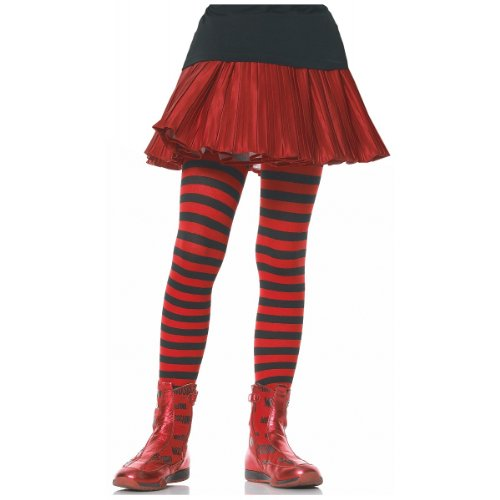 Children's Striped Tights Child Hosiery Black/Red - Large
