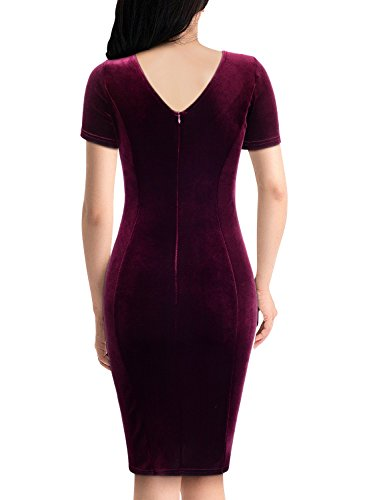 Miusol Women's Retro V Neck Pleuche Evening Party Pencil Dress (Small, Wine)
