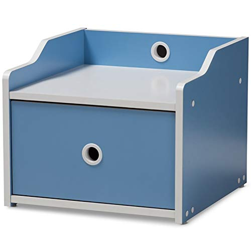 Baxton Studio Aeluin 1 Drawer Kids Nightstand in Blue and White by Baxton Studio