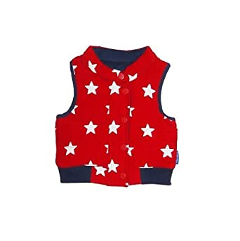 8096fdd13826 Toby Tiger Unisex Baby Reversible Cord Gilet Star Jacket Red Blue ...